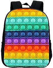 HHHJ Rainbow Push Bubble School Book Tassen voor Meisjes Jongens zintuiglijke speelgoed Rugzakken voor Tieners met Verstelbare Schouderriem fidget speelgoed Kinderen Rugzakken Zwart 1