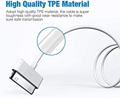 Poweradd - Cable de Datos 30-pin USB Carga, Cargador Apple MFi Certificado para iPhone 4, iPad 1/2/3 y iPod Carga Rápida, Ligero y Portátil, Blanco