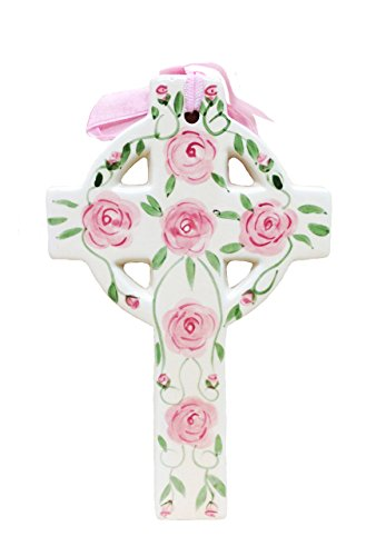 Ceramic Wall Cross (Precious Home Collection, Pink Rose, Decoration Wall Crosses 8-1/4