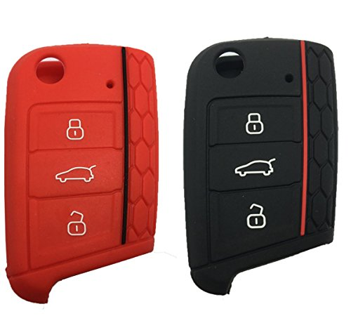 Keyless Entry Remote Key Fob Skin Cover Protective Silicone Rubber key Jacket Protector for VW Volkswagen Golf 7/GTI 7/Golf R R20/MK7 MKVII (1 Black + 1 Red)