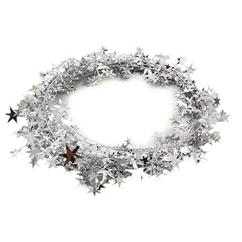 Bolansi 3PCS/1set Star Garland Tinsel Stars Brace,Tinsel Wire Garland Christmas Decoration Party Accessory (Metallic Wire Garland)