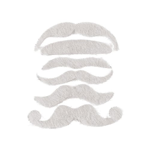 Fun Express 12 Synthetic Mustache Assortment - Costume Moustache (White), Regular ()
