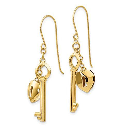 14K Gold Puff Heart Lock and Key Shepherds Hook Dangle Earrings (1.4IN x 0.5IN) ()