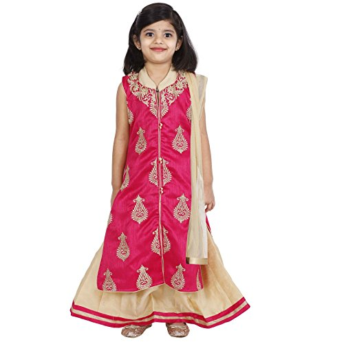 - Ashwini Girls Netted Embroidery Pink Lehenga Choli Set,Pink,10-11 Years