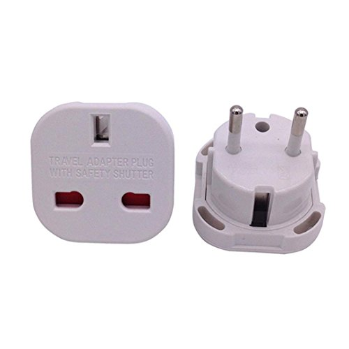 Gaddrt 2 in 1 Universal UK to EU Europe European Travel Adapter White Plug