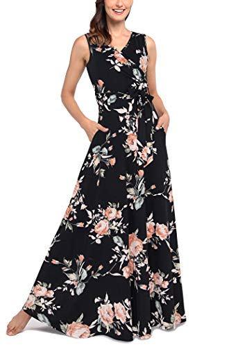 Comila Hawaiian Plus Size Dresses, Bohemian Summer Floral Casual Tropical Temperatures Flowy Maxi Dress Pockets Women Work Office Crossover Top Paty Dress Black Pink XXL US(18/20)