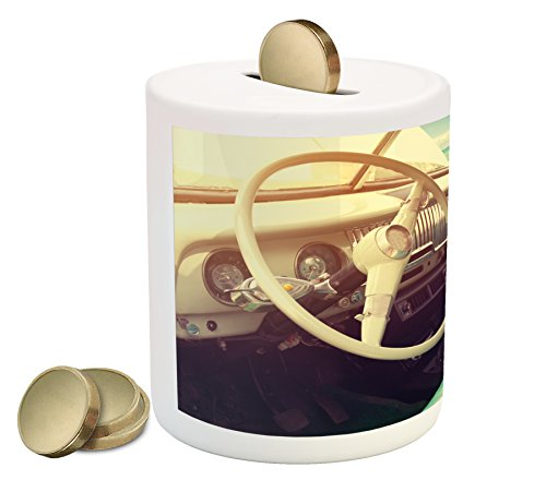 ggy Bank, Interior a Classic Car Parked Seaside the Cloudy Sky Digital Print, Printed Ceramic Coin Bank Money Box Cash Saving, Cream Jade Green ()