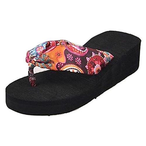 c8a6e0fd4c47 TOOGOO(R)Summer bohemia flower Women flip flops platform wedges women  sandals platform flip
