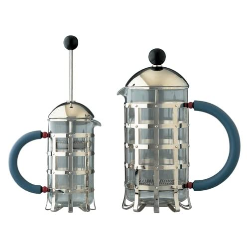 A di Alessi MGPF 3 Cafetière Presso-filtre ou à Infusion en Acier Inoxydable 18/10 et Verre Résistant au feu poignée - 3 tasses - Bleu clair