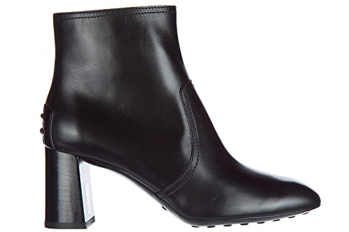 Tod's Women's Leather Heel Ankle Boots Booties Black 2LYyl43Vm
