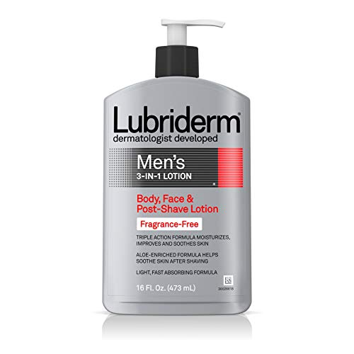 Shave Fragrance - Lubriderm Men's 3-In-1 Unscented Lotion Enriched with Soothing Aloe for Body and Face, Non-Greasy Post Shave Moisturizer, Fragrance-Free, 16 fl. oz