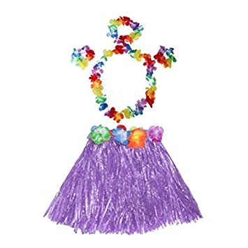 Kind-Mädchen-Hawaii-Hula Baströckchen Stirnband Armband Fanc Tanz-Kleid-Rock