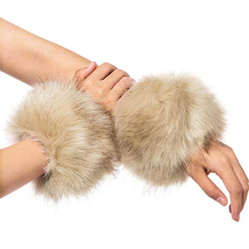 - Lucky Leaf Women Winter Wrist Warmers Faux Fur Soft Cuffs Band Ring (C1-Beige)