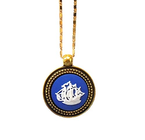 Wedgwood Authentic Tall Ship/Dutch Ship Necklace- Gold-Plate
