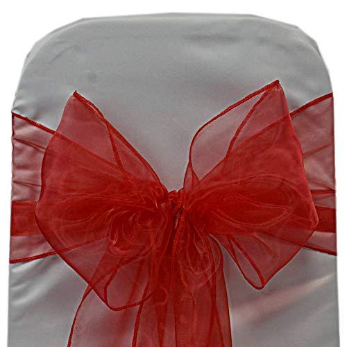 (VDS - 25 PCS Elegant Organza Chair Bow Sashes Bows Ribbon Tie Back sash for Wedding Party Banquet Decor - Red)