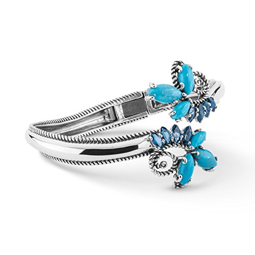 Carolyn Pollack Sterling Silver Turquoise Blue Topaz Gemstone Hinged Bypass Cuff Bracelet Size S M Or L