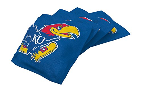 Wild Sports NCAA College Kansas Jayhawks Blue Authentic Cornhole Bean Bag Set (4 Pack)