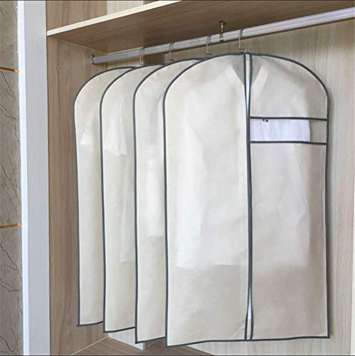 - Garment Bag, Moth Proof Garment Bags Breathable Full Zipper Dust Cover for Clothes Storage Closet Pack of 6/5,Beige,L