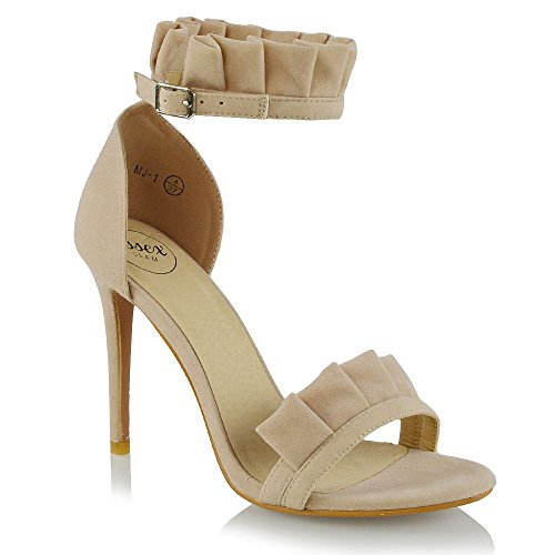 a4c5fe0f1 Essex Glam Womens Ankle Strap Frill Stiletto Nude Faux Suede Peep Toe Party Sandals  5 B