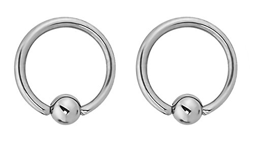 14g Captive Bead Ring - Forbidden Body Jewelry Pair of Every-Day Piercing Rings: 14g 11mm Surgical Steel Captive Bead Hoop Rings, 4mm Balls