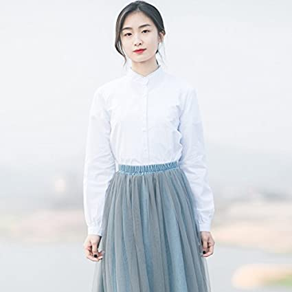 XXIN Encaje Pequeño Encaje/Manga Larga Camisa Blanca Mujer ...