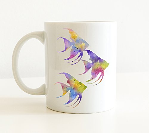 Angel Tropical Fish - Angelfish Mug - Angelfish Coffee Mug - 11 oz - Unique Angelfish Aquarium Gift