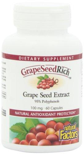Природные факторы виноградных косточек Rich экстракт виноградных косточек, 100 мг капсулы, 60-Count