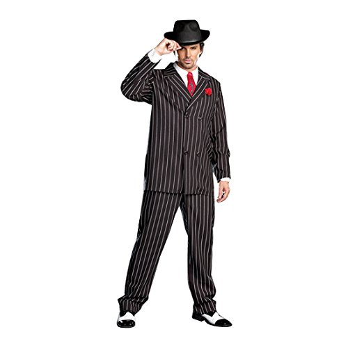 1920s Gangster Costumes (Dreamgirl Men's Gangsta Costume, Black/White,)