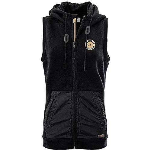 Levelwear LEY9R NCAA Purdue Boilermakers Women's Iris Banner Stripe Full Zip Hooded Vest, Small, Black