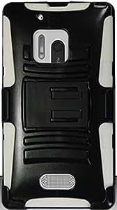 PiGGyB Case for Nokia Lumia 928 Black Rubber Hard Kickstand White Belt Clip
