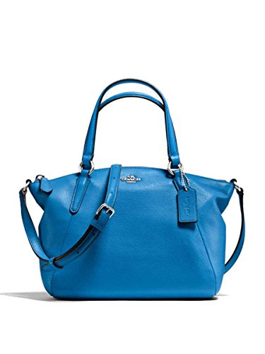 Coach Pebble Leather Mini Kelsey Satchel Crossbody Handbag, Lapis (Lapis) (Blue Handle Lapis)