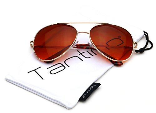 Tantino Blue Blocker Classic Aviator Driving Metal Sunglasses (Gold, - Blue Blocker