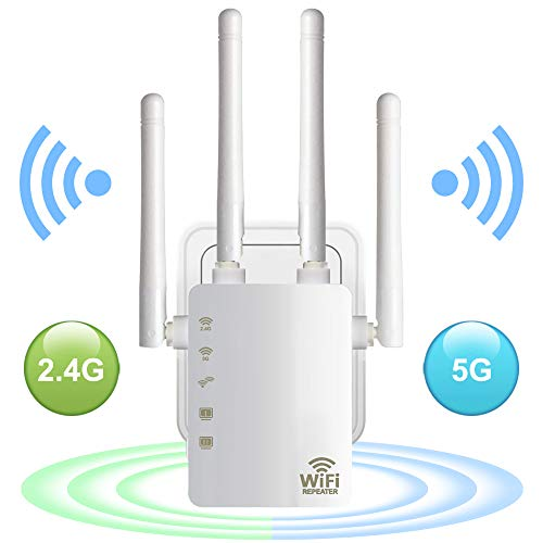 WiFi Range Extender, Aigital AC1200 Dual Band WiFi Internet Signal Booster Wireless Repeater for Router, Easy Setup with WPS Extends 2.4 & 5GHz WiFi to Smart Home & Alexa Devices-High Speed 1200Mbps