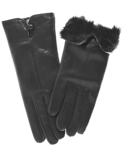 Fratelli Orsini Women's Italian Rabbit Fur Lined Gloves w...