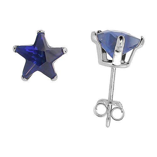 - Sterling Silver Cubic Zirconia Blue Sapphire Star Stud Earrings 7 mm Navy color