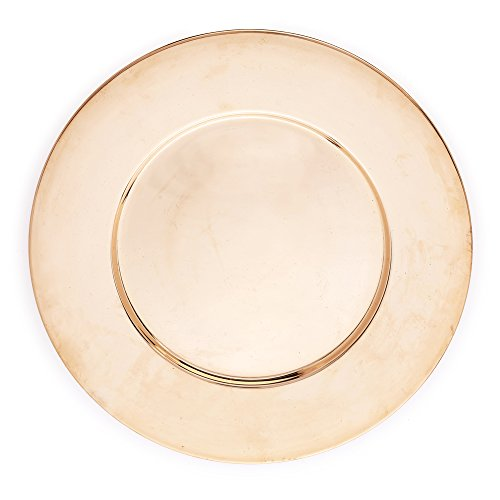 Kuprum Hand Hammered Solid Natural Copper Round Charger Plate, Decorative and Rustic for Tabletop and Service, 12.5'' by Kuprum