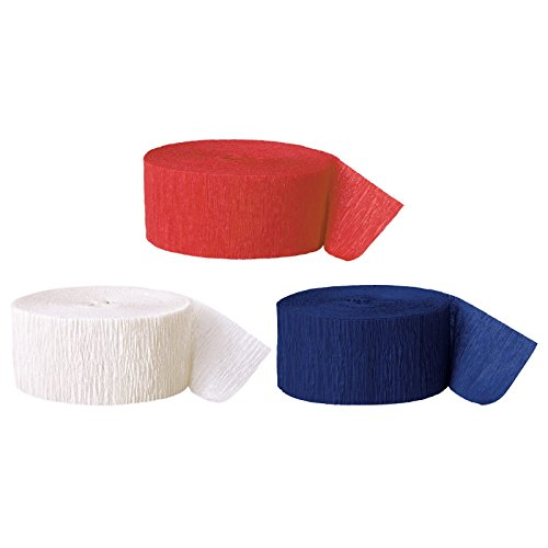 Andaz Press Crepe Paper Streamer Hanging Party Decorations Kit, 240-Feet, Red, White, Navy Blue, 1-Pack, 3-Rolls, July 4th Patriotic Colored Wedding Baby Bridal Shower Birthday Supplies