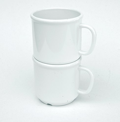 Clipper Commercial Plastic Coffee Mug, 10 oz, White, 6 pack