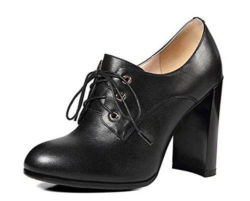Beauqueen Bombas Chunky High Heel Ronda-Toe Oxford Lace-Up 2017 Primavera Verano Moda Casual Oficina Zapatos Europa Tamaño 34-39 Black