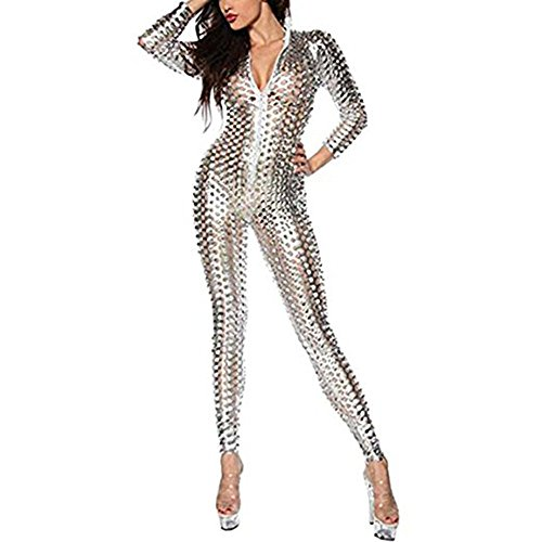 Wonder Pretty Women Catsuit Silver Jumpsuit Faux Leather Bodysuit Sexy Clubwear Wet Look Halloween Costume -