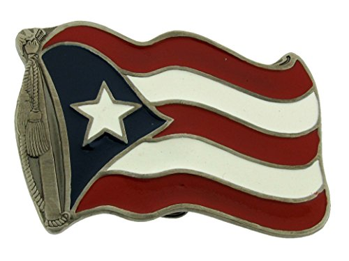 I Love Puerto Rico Wavy Puerto Rican Flag Bandera Puertorriquena Belt Buckle