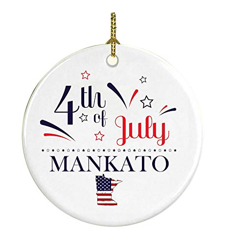Patriotic Heart Ornament 4Th Of July Decorations For The Home Mankato Minnesota Independence Day Decorations Declaration of Independence America Pride Ceramic 3 inches White