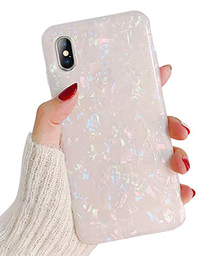 (Phone Case for iPhone X/XS,Girls Women Sparkling Shiny Soft TPU Silicone Back Cover Cute Slim Fit Full Protection Glitter Pearly-Lustre Translucent Shell Pattern Protective Phone Case (Colorful))