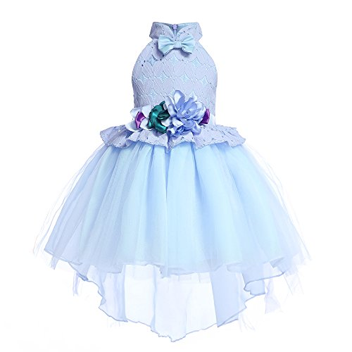 AIMJCHLD Big Girls Ruffle A-Line Rustic Flower Dress Tea Length Party Wedding Pageant Ball Gowns Sundress Bridesmaid Formal Fancy Applique Graduation Dresses Size 7 8 Years (Blue 140)