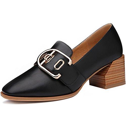 PUMPS Ladies Small Shoes,Student Schuhe,Square Head Heel Heels-A Fußlänge=23.8CM(9.4Inch)