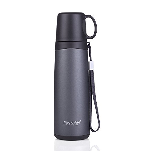 Black Stainless Steel Travel Mug Flask Drinking Cup Thermal 16Oz by Travel Mugs