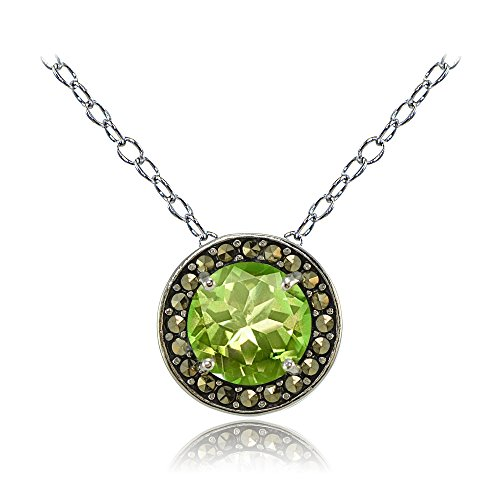 Ice Gems Sterling Silver Gemstone and Marcasite Halo Birthstone Necklaces