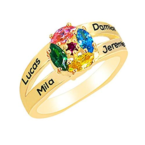 (Personalized Birthstone Custom Promise Ring Engraved Name Rings Anniversary Gift)