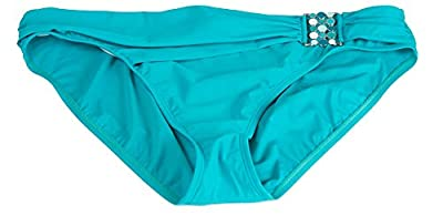 2 Bamboo Womens Blue Cinched with Buckle On The Side Bikini Swim Bottom
