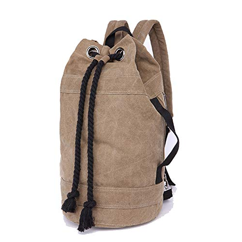 JITALFASH Canvas Backpack 2 Sizes Bucket Drawstring Backpack Travel Luggage Bag Casual Men Laptop Rucksack Khaki Big onesize